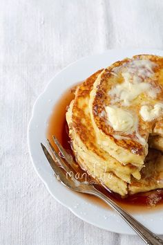 Pancakes with cinnamon syrup #breakfast