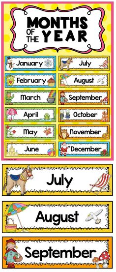 Months of the Year Headers: Each headers background is colour coded to correspond with the season and includes images related to the month. Suitable for preK through to 2nd Grade. $