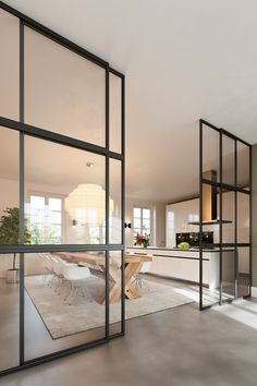 The low commitment partition. Glass and black metal is a plus Modern Kitchen Design, Modern House Design, Interior Design Kitchen, Interior Decorating, Kitchen Pantry Design, Minimalist House Design, Contemporary Interior Design, Open Plan Kitchen, Luxury Interior Design