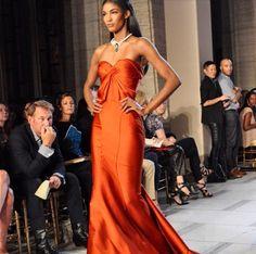 Luscious burnt orange Zac Posen dress