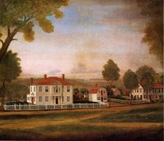 Reggie Darling: September 2010 Houses Fronting New Milford Green, painted by Ralph Earl in 1796 48 x 54 inches The Metropolitan Museum of Art, New York A4 Poster, Poster Prints, Garden Fencing, Fence, New Milford, Country Landscaping, Silhouette, Vintage Artwork, Old Master