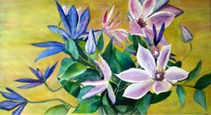 Watercolor painting - Clematis in a vase - by Cheryl Olson