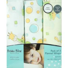 BUBBA BLUE - ABC 123 Flannel Wraps (3 Pack). #christmascountdown