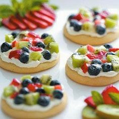 "Sugar Cookie Fruit Pizzas ~ Purchased sugar cookies make a sweet ""crust"" for these colorful fruit pizzas. Make them throughout the year with a variety of fresh and canned fruits."