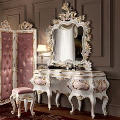 Hardwood toilette with figured mirror floral carves - Villa Venezia Collection…