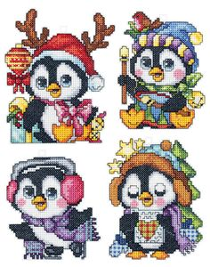 Plastic Canvas Penguin Christmas Ornaments, Set of 4 Cross Stitch Kit   sewandso