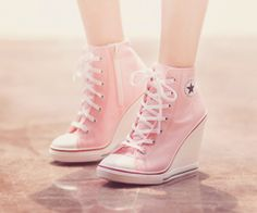 26 Nice Fashion High Heels Trending Now - Shoes Fashion & La.- 26 Nice Fashion High Heels Trending Now – Shoes Fashion & Latest Trends Brilliant Shoes Trends - Converse Wedges, Converse Wedding Shoes, Pink Converse, Converse High Heels, Women's Converse, Wedding Heels, Trend Fashion, Fashion Shoes, Fashion Pics