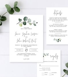 Wedding Invitation Suite with Hand-Painted Watercolor Eucalyptus Details Card Reception Card RSVP Card Editable Template Country Wedding Invitations, Wedding Invitation Suite, Formal Wedding Invitations, Invitation Cards, Wedding Card Design, Wedding Cards, Wedding Details, Save The Date Wedding, Theme Nature