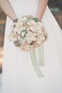 Custom Paper Flowers, Burlap and Brooch bouquet by TheVagabondStudio Vintage Wedding Flowers, Floral Wedding, Diy Wedding, Wedding Ideas, Wedding Stuff, Dream Wedding, Wedding Lace, Wedding Crafts, Perfect Wedding