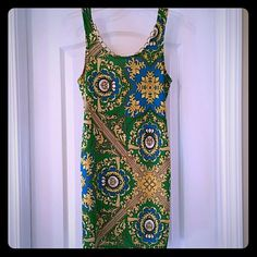Selling this Arden B Gold Green and Blue Print Dress in my Poshmark closet! My username is: cheesboutique. #shopmycloset #poshmark #fashion #shopping #style #forsale #Arden B #Dresses & Skirts