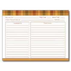 Orange Gold Rust Country Checks Recipe Cards Postcard