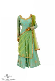 Aquamarine and applegreen long flared suit in zari work
