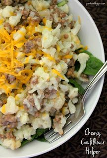 Jo and Sue: Cheesy Cauliflower Helper - HUGE serving, filling, tasty, easy to whip up, under 400 calories! Cauliflower Dishes, Cheesy Cauliflower, Veggie Dishes, Food Dishes, Main Dishes, Cauliflower Ideas, Side Dishes, Enchilada Recipes, Beef Recipes