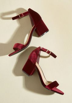 Have the Upper Grande Velvet Heel - Red, Solid, Special Occasion, Prom, Wedding, Party, Cocktail, Girls Night Out, Holiday, Holiday Party, Bridesmaid, Wedding Guest, Luxe, Minimal, Winter, Mid, Good, Chunky heel, Red, Saturated, Under 50 Gifts, Holiday Gifts