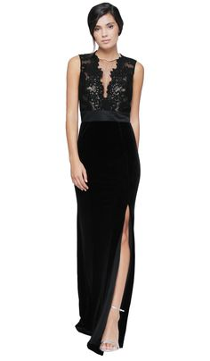 Metallic Bodice Velvet Dress Theia Couture | Aluguer de Vestidos