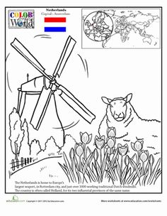 Second Grade Fourth Fifth Places Geography Worksheets The Netherlands Coloring Page