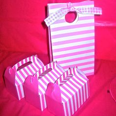 Party Ideas: Pink Spots and Stripes Themed Girls First Birthday lolly bags and boxes.