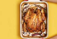 The Tastiest Roast Chicken Recipe Known to Man Jamie Oliver tossed in milk and lemon zest with his roast chicken, and out came a succulent masterpiece: juicy meat in a rich, tart sauce that magically Roast Chicken Recipes, Turkey Recipes, Meat Recipes, Dinner Recipes, Cooking Recipes, While Chicken Recipes, Dinner Ideas, Recipies, Frango Chicken
