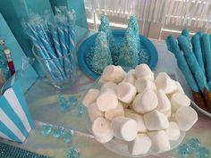Marshmallows, blue candies from Cracker Barrel...