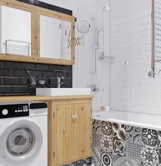 carrelage-design-imitation-carreaux-de-ciment-blanc-et-noir-baignoire-déco-blanc-et-noir-finitions-bois-aménager-une-salle-de-bain-miroir-baignoire-douche Home Appliances, Stacked Washer Dryer, Washing Machine, Home, Washer And Dryer, Deco