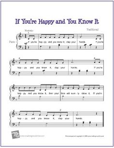 If You're Happy and You Know It | Free Sheet Music for Easy Piano  - MakingMusicFun.net (Scheduled via TrafficWonker.com)