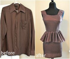 Trash To Couture: Mens shirt refashion: peplum dress I am DEFINATELY making this from all my brothers old shirts! Diy Clothes Refashion, Shirt Refashion, Diy Clothing, Sewing Clothes, Men Clothes, Refashioning Clothes, Thrift Store Refashion, Sewing Men, Upcycle Shirts