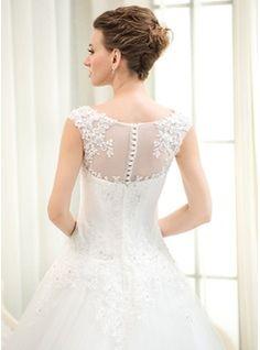 ..De baile Decote redondo Cauda longa Tule Renda Vestido de noiva com Bordado Lantejoulas (002054359) - JJsHouse