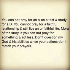 Actions should match prayers!