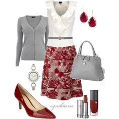"""Red and Gray"" by cynthia335 on Polyvore Work Attire, Office Attire, Outfit Work, Grey Outfit, Work Outfits, Office Outfits, Skirt Outfits, Summer Outfits, Beautiful Outfits"