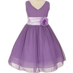 Mary - Chiffon & Satin V-Neck Flower Girl Dress in Lilac