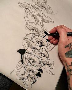 No photo description available. Tattoo Sketches, Drawing Sketches, Tattoo Drawings, Body Art Tattoos, Art Drawings, Fate Tattoo, 4 Tattoo, Mushroom Drawing, Mushroom Art