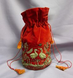 Red Velveteen Bag Sack w/ Silver Wire Embroidered Cranes Birds Drawstring #Drawstring