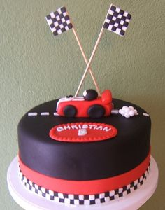Race Car Cake Love the tooth pick flags