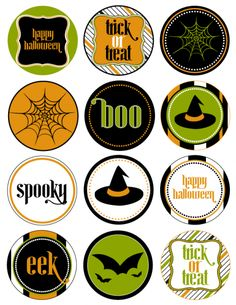 """FREE Halloween party printables!  There are cupcake toppers/party labels, water bottle labels, cupcake wrappers, and a large cobweb """"welcome"""" sign! Now there's no excuse not to throw a Halloween party."""