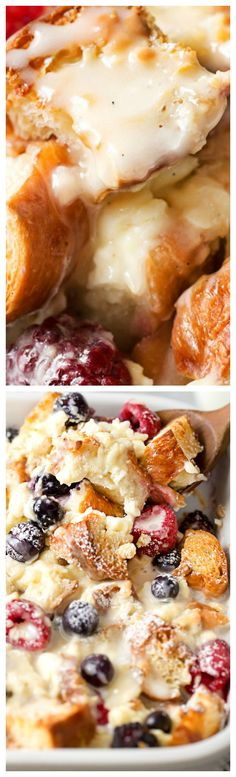 Mixed Berry Overnight Croissant Breakfast Bake ~ Made incredibly easy, it's studded with mixed berries and drizzled with a vanilla bean glaze!