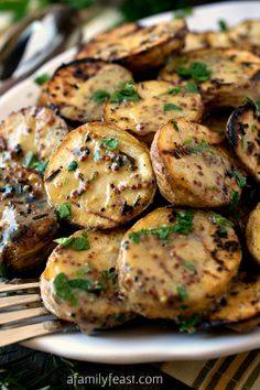 Grilled Yellow Potatoes with Mustard Sauce - A Family Feast