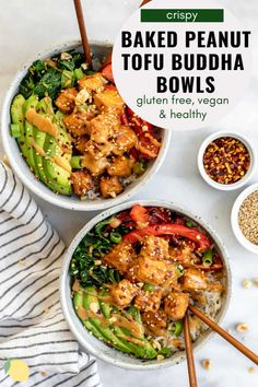 This crispy baked peanut tofu is an easy vegan dinner recipe. Serve it buddha bowl style for a healthy meal! This recipe is easy enough for beginners, crispy, and can be eaten cold. Tofu Recipes, Vegetarian Recipes Easy, Vegan Dinner Recipes, Vegan Dinners, Cooking Recipes, Healthy Recipes, Healthy Dishes, Healthy Eats, Healthy Foods