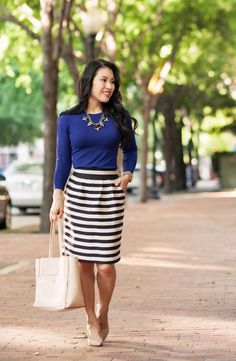 cute & little blog   petite fashion   pink trench, navy sweater, black white striped pencil skirt, statement necklace   spring outfit