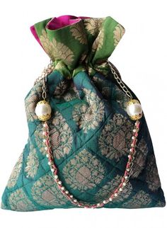 Green Brocade Potlis Diy Fashion, Indian Fashion, Fashion Bags, Trousseau Packing, Potli Bags, Silver Bags, Art Bag, Diy Purse, Beaded Bags