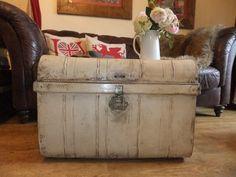 Vintage painted Metal trunk with wonderful Brass Lock, £85.00