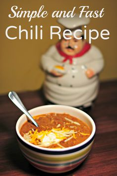 Simple and Fast Chili Recipe - Delicious and quick family meal. Great for game day or any day