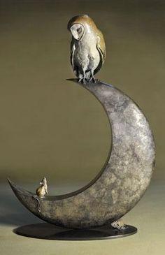 "Artist : Theodore Gillick Works : Bronze Sculpture : ""Night Owl and Moon"" Sculptures Céramiques, Sculpture Art, Ceramic Sculptures, Owl Moon, Bird Artists, Paperclay, Owl Art, Ceramic Art, Metal Art"