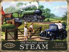 Steam Train, LNER Flying Scotsman Railway Engine Golden age Small Metal/Tin Sign   eBay