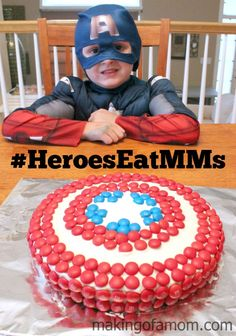 How to make a Captain America Shield cake with M&M's and FREE printable template.