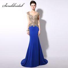 Vestido De Noche Royal Blue Evening Dresses Long 2017 Turkish Formal  Evening Gown Gold Embroidery Mermaid 1c37e49d7f42
