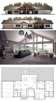 Container House - Like the layout. Seems good use of space and two living areas. House Plan - Who Else Wants Simple Step-By-Step Plans To Design And Build A Container Home From Scratch? Barn House Plans, New House Plans, Dream House Plans, Modern House Plans, Small House Plans, House Floor Plans, Metal House Plans, Open Plan House, Pole Barn Homes Plans