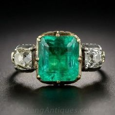 Georgian Style Foil-Backed Emerald and Diamond Ring Estate Vintage Antique Jewelry