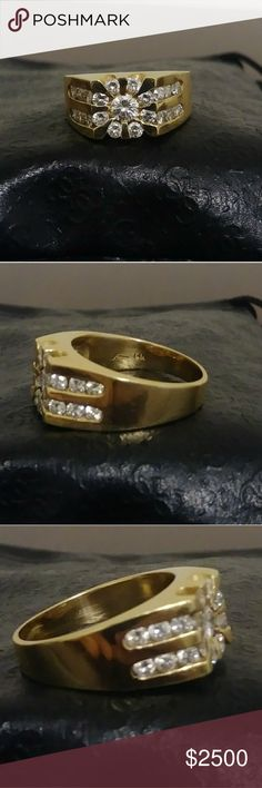 14K Yellow Gold Mens Cluster Diamond Ring 2.0 CTW This is a gorgeous 14K Yellow Gold Men's 2.0Ct Diamond ring; Clarity of the Diamond is Si1 in clarity and G in color. Brand new with 0 imperfections. Jewelry Rings