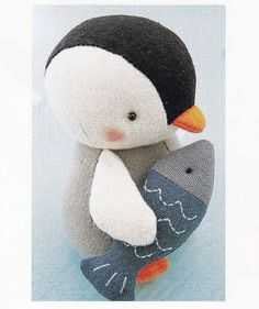 Cotton Linen Fabric Cute Penguin Fish and Seal by DollyAndPaws, $3.00
