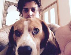 Aneurin Barnard and his beagle